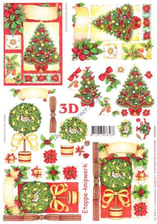 Christmas Tree & A Topiary Tree Designs 3d Decoupage Sheet
